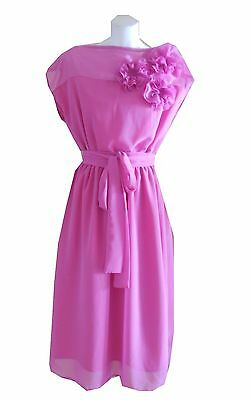 VINTAGE HARAH DESIGNS cap sleeve CHIFFON MID CALF DRESS 6-8-10 -12-14-16