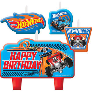 Hot Wheels Party Supplies Candle Set Of 4 Mini Moulded Genuine