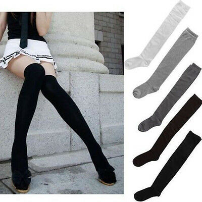 Newly Black Grey White Striped Over Knee Thigh High Socks Ladies School Size 4-7
