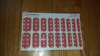 Jamberry Nail Wraps Red Vintage Cross Stitch Full Sheet Retired Rare
