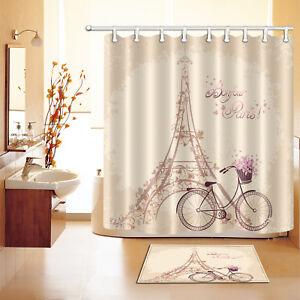 Image Is Loading Polyester Waterproof Bonjour Paris Shower Curtain Bath Mat