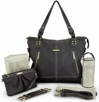 Timi & Leslie Kate Faux Leather 7 Piece Baby Diaper Bag Black Edition 2016