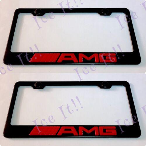 2X 3D AMG RED RAISED Emblem MERCEDES Black Stainless Steel License Plate Frame
