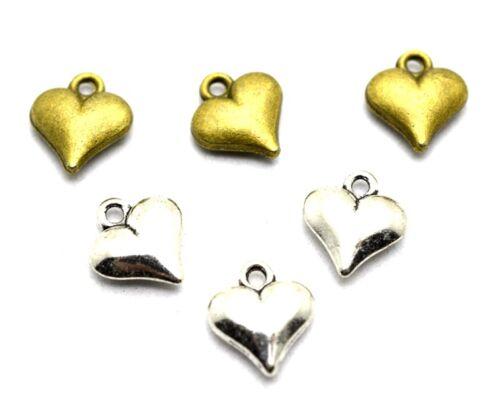 25pcs Antique Silver//Bronze Mini 3D Hearts Charm Pendants 10x12mm