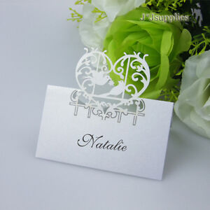 50x Love birds Name Place Cards Wedding Favor Guest Names Table ...