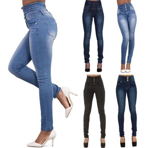 Ladies High Waist Slim Skinny Jeans Stretch Pencil Denim Pants Trousers