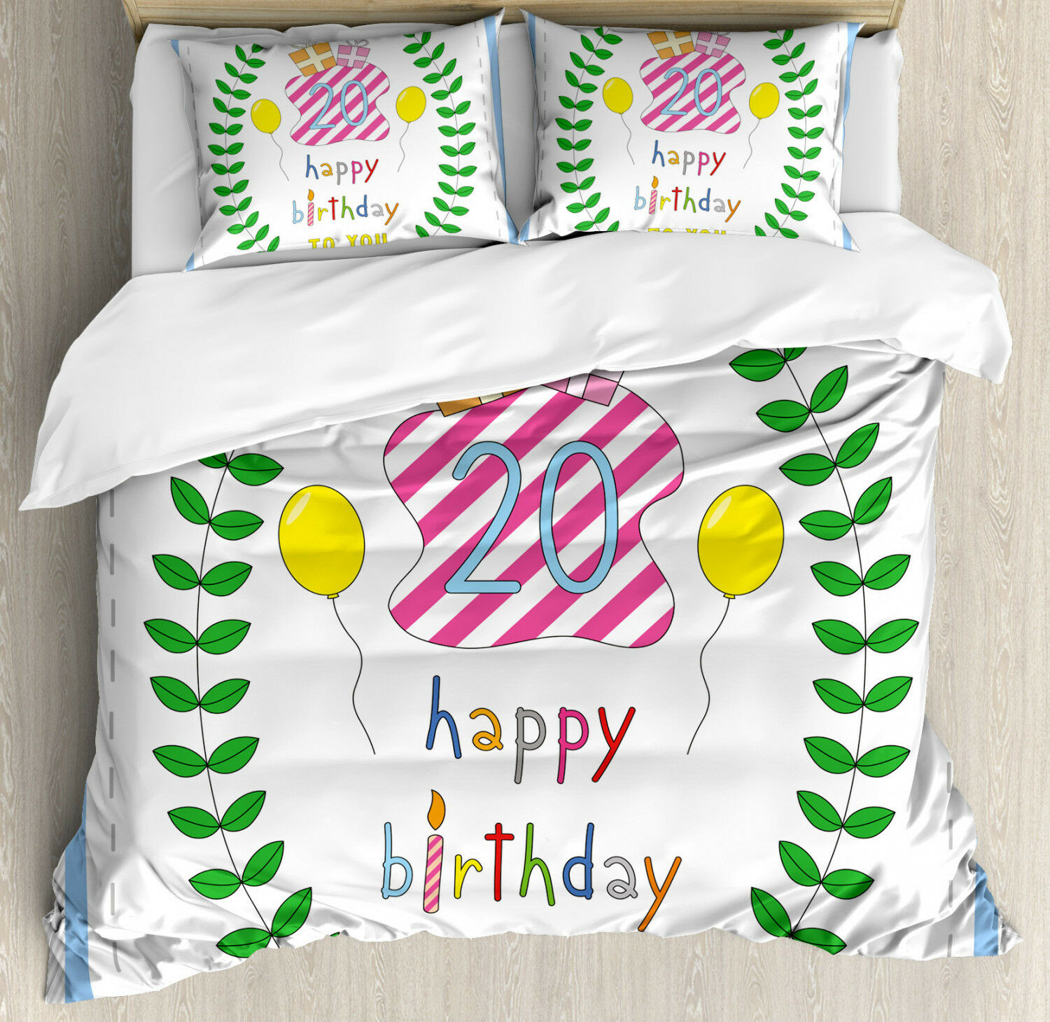 Party Duvet Cover Set with Pillow Shams Birthday Twenty Years Print