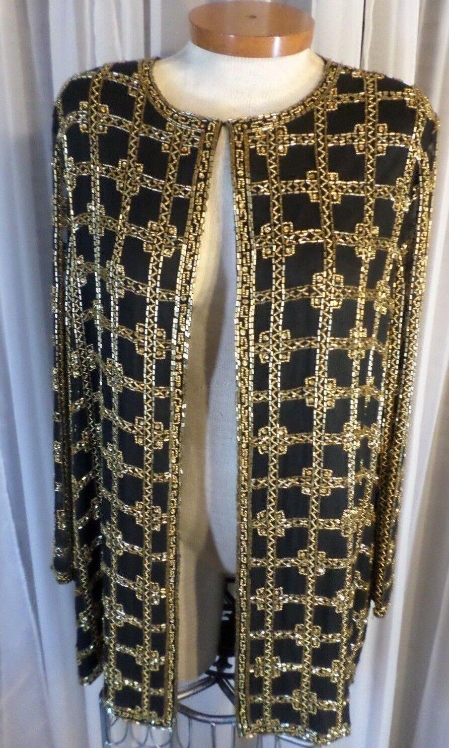 Vintage schwarz XL Woman Silk Bead Sequin Lady Jacket 14 16 Top Gold Sheer Sleeves
