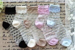 New-Vintage-Retro-Sheer-Mesh-Polka-Dots-Knit-Frill-Trim-Ankle-Socks