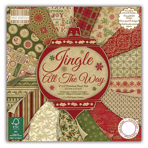 """GRATUIT UK P P * Première édition /""""Jingle All the way/"""" 6/"""" x 6/"""" FSC Paper Pad Full Pad"""