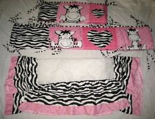 BABY BOOM PINK ZEBRA CRIB BUMPER & DUST RUFFLE BABY BED / CRIB BEDDING SET
