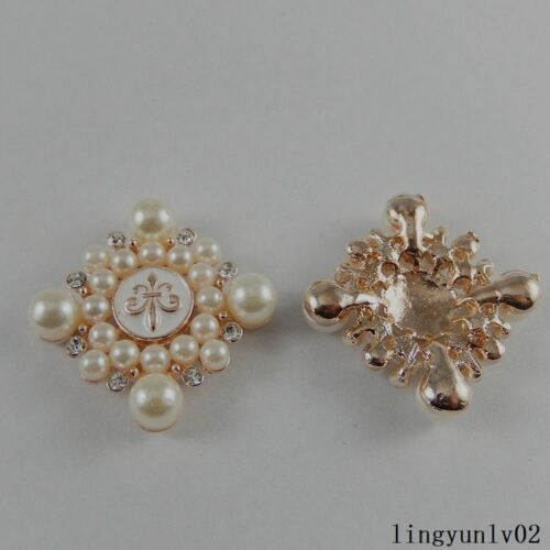 Gold ABS Pearl Accessories Cross Jewelry Decor Crystal Pendants Crafts 6x 50982