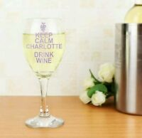 Personalised Keep Calm And Drink Wine Glass Birthday Christmas Anniversary Gift