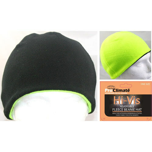 341ec876ab6 Men s Hi Vis Thermal Fleece Beanie Hat 3m Thinsulate Hats Neon Yellow  Reversible for sale online