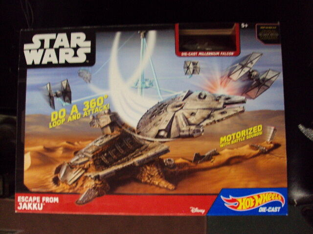 NEW Hot Wheels Star Wars Escape From Jakku Play Set w  Millennium Falcon