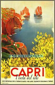 Italy Capri Island 1952 Italian Travel Vintage Poster Print Retro Style Wall Art