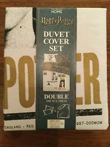Harry Potter Daily Prophet Double Duvet Cover Set Newspaper Black White Primark