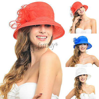 new women's dress cloche bucket derby hat thin brim organza summer hat