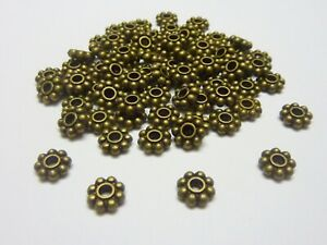 100-pce-Metal-Antique-Bronze-Daisy-Spacer-Beads-8mm-Jewellery-Making-Craft