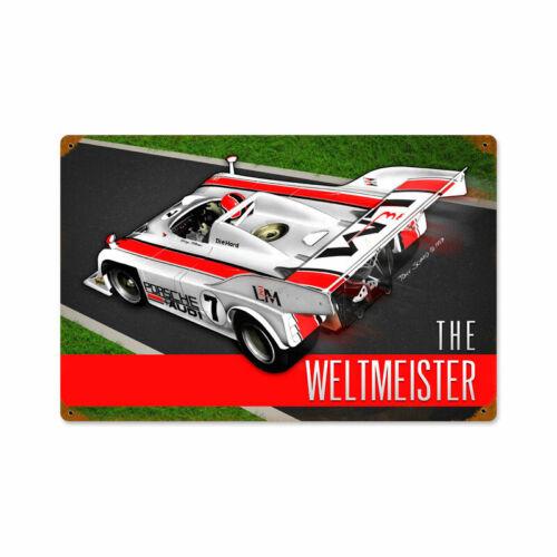 VINTAGE METAL GARAGE MANCAVE SIGN Porsche Weltmeister 18 x 12