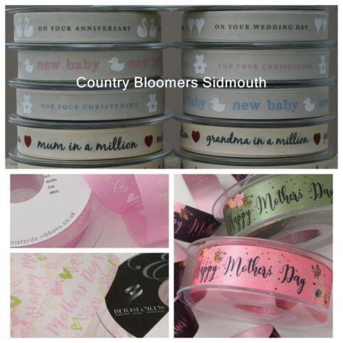 Birthdays Mother/'s Day Occasions etc Berisfords Ribbon ~ Wedding Christening