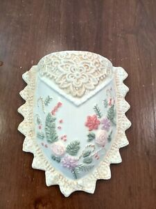 """Ceramic Wall Planter Pocket Embossed Floral Scalloped Sawtooth Edge 8"""""""