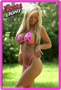 Coors Light Beer Sexy Babe In Pink Bikini Refrigerator