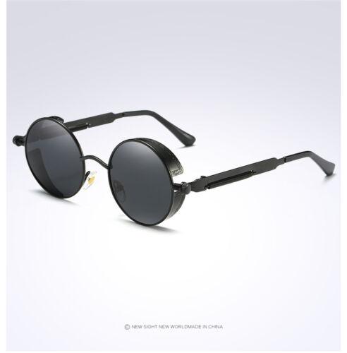Vintage Polarized Steampunk Sunglasses Fashion Round Mirrored Retro-Sunglasses