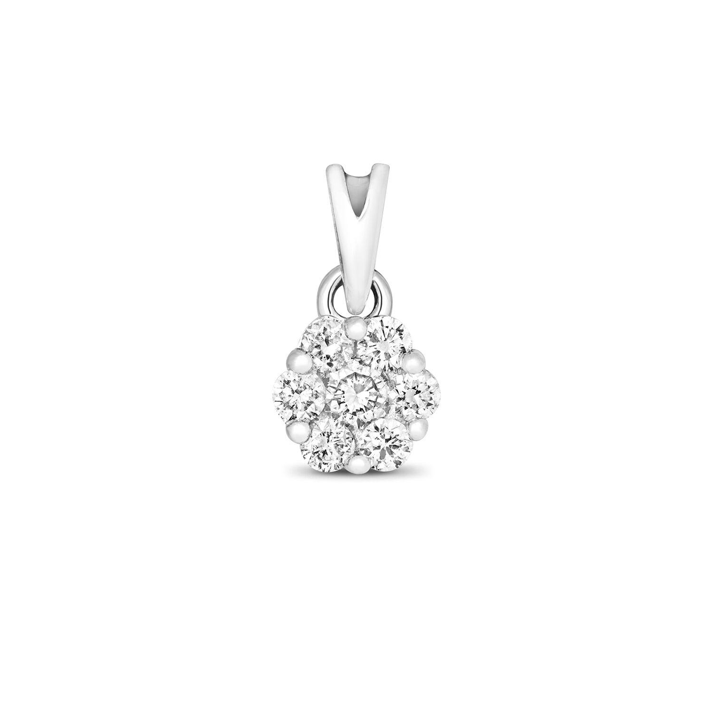Diamond Pendant White gold Cluster 0.15ctw Appraisal Certificate