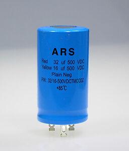 32uf+16uf-500v<wbr/>dc Marshall HiWatt__ARS Dual Blue Capacitor Replaces F&T JJ LCR