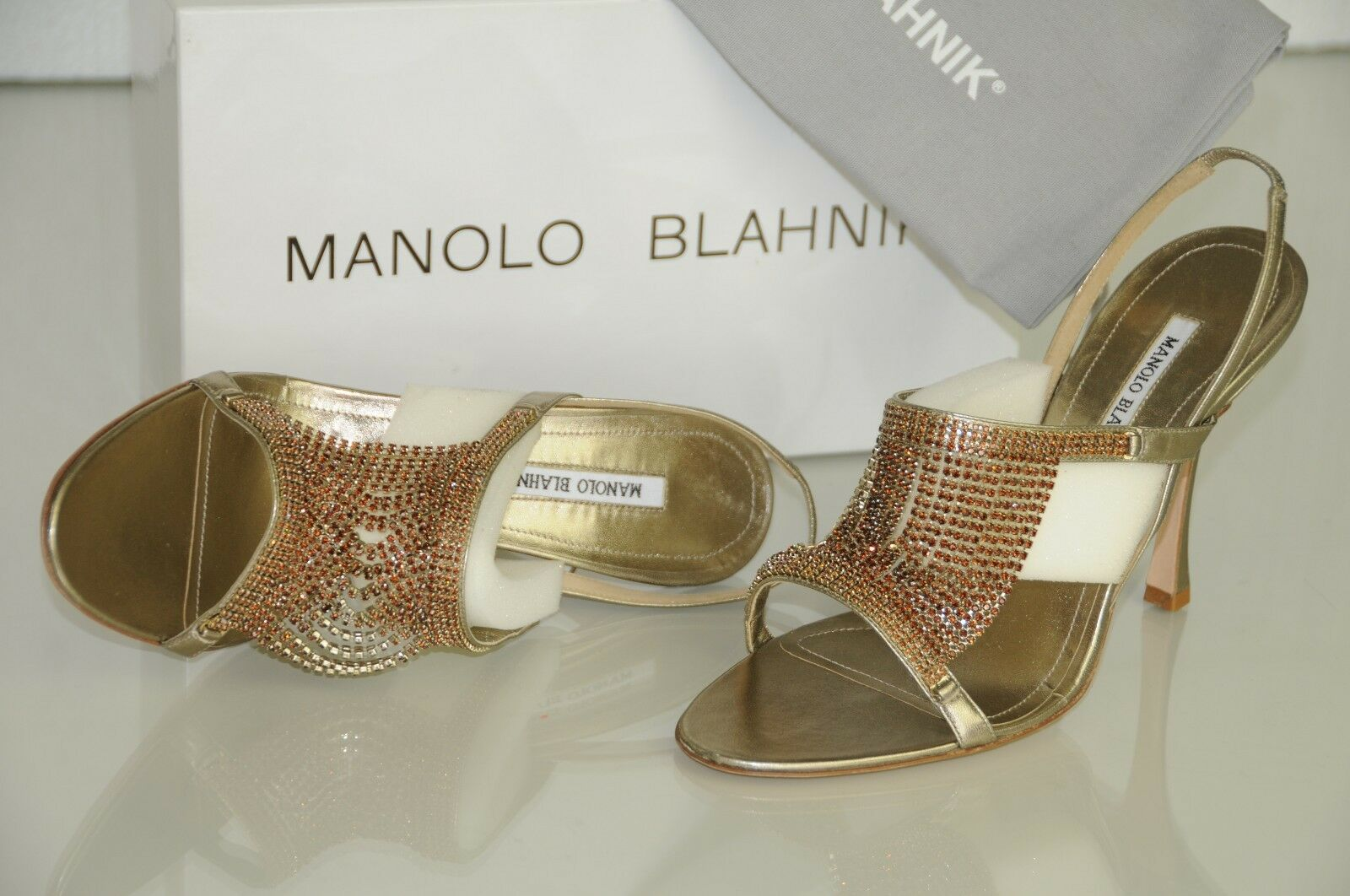 New Manolo Manolo Manolo Blahnik Fringestro Gold Crystal Jeweled Sandals schuhe 40 40.5 Wedding a1ba6a