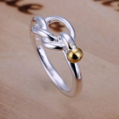 Lowest price wholesale solid silver Gold GP knot ring size 6,7,8,9,10+box DR15
