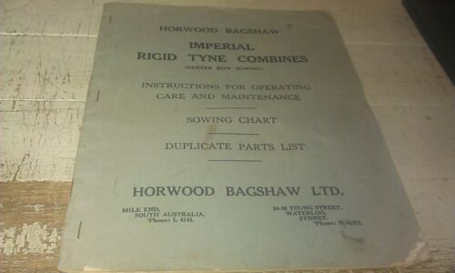1938 1939 HORWOOD BAGSHAW Imperial Combine Inst. Book