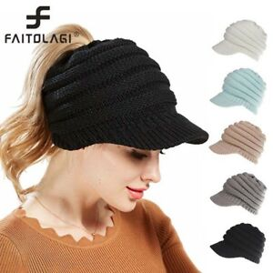 51a81420c4532 Image is loading Winter-Warm-Women-Ponytail-Hats-Knited-Thicken-Peaked-