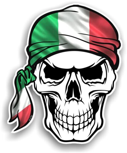 Skull With HEAD Bandana Italy Italian il Tricolore Flag vinyl car sticker decal