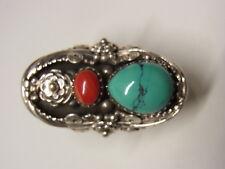 Indianerschmuck Navajo Zuni Ring Fingerrring Koralle Gr.62 Türkis Silber Nr. 109