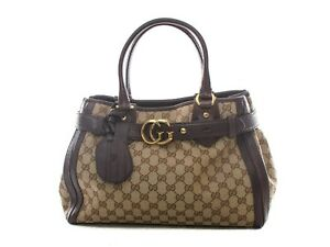 Authentic-Gucci-Running-tote-Monogram-GG-canvas-brown-leather