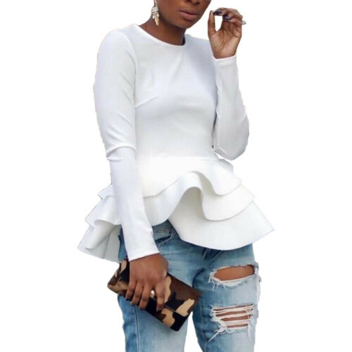 NEW Women/'s Stylish Long Sleeves O Neck Ruffled Casual Club Party Top Blouse