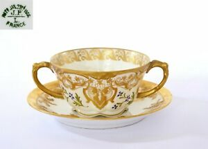 1900's France JPL Jean Pouyat Limoges Porcelain Heavy Gilt Gold Cup & Saucer
