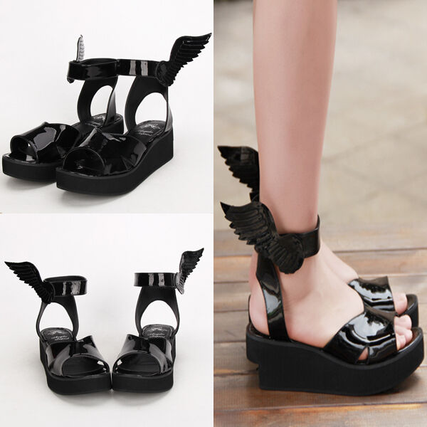 Gothic Goth Lolita Punk Wing Flügel Schuhe Schuhes Sandale Sandale Cosplay Kostüm