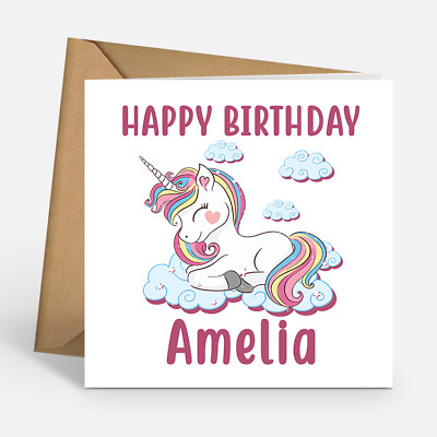 Peachy Personalised Unicorn Girls Childrens Kids Custom Name Happy Funny Birthday Cards Online Sheoxdamsfinfo