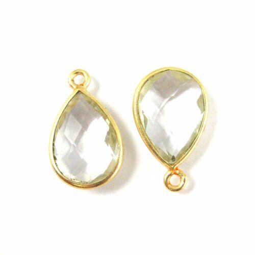 Gold plated Bezel Gem-Small Teardrop Gem 10x14mm Gemstone Pendant 2 Pieces