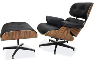 Plywood Eames Lounge Chair Ottoman Replica Real Leather Black