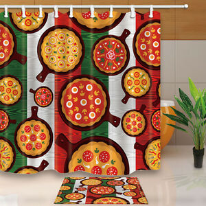 Image Is Loading Cartoon Pizza Bathroom Decor Shower Curtain Waterproof Fabric