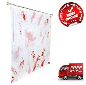 "Halloween Bloody Hand Shower Curtain Double-Sided 71"" x 71"" Bath Curtain"