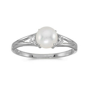 CM-RM1575X-06 14k Yellow Gold Cultured Freshwater Pearl /& Diamond Ring