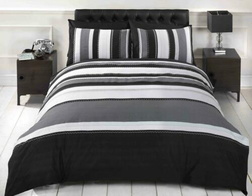 Striped Duvet Quilt Cover Teens Boys Mens Bedding Set Grey Black Single Modern