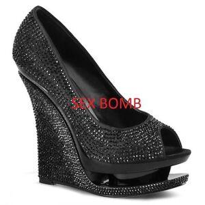 Caricamento dell immagine in corso SEXY-scarpe-nere-spuntate-strass-doppio -plateau-tacco- 2e40e0ee435