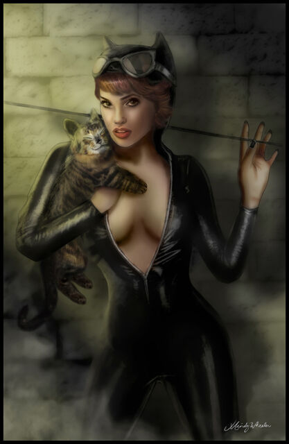 CATWOMAN ART PRINT 1 BY MINDY WHEELER SIGNED 11x17