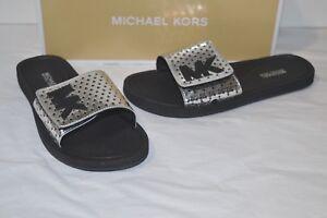cfc0b941355f New  59 Michael Kors MK Slide Lasered STARS Mirror Metallic Silver ...